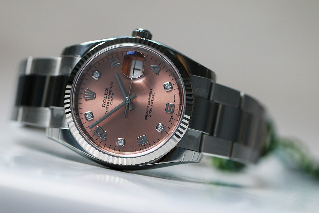 c0f2a986e7c Oyster Perpetual Date rose 5 diamants - Rivierawatch