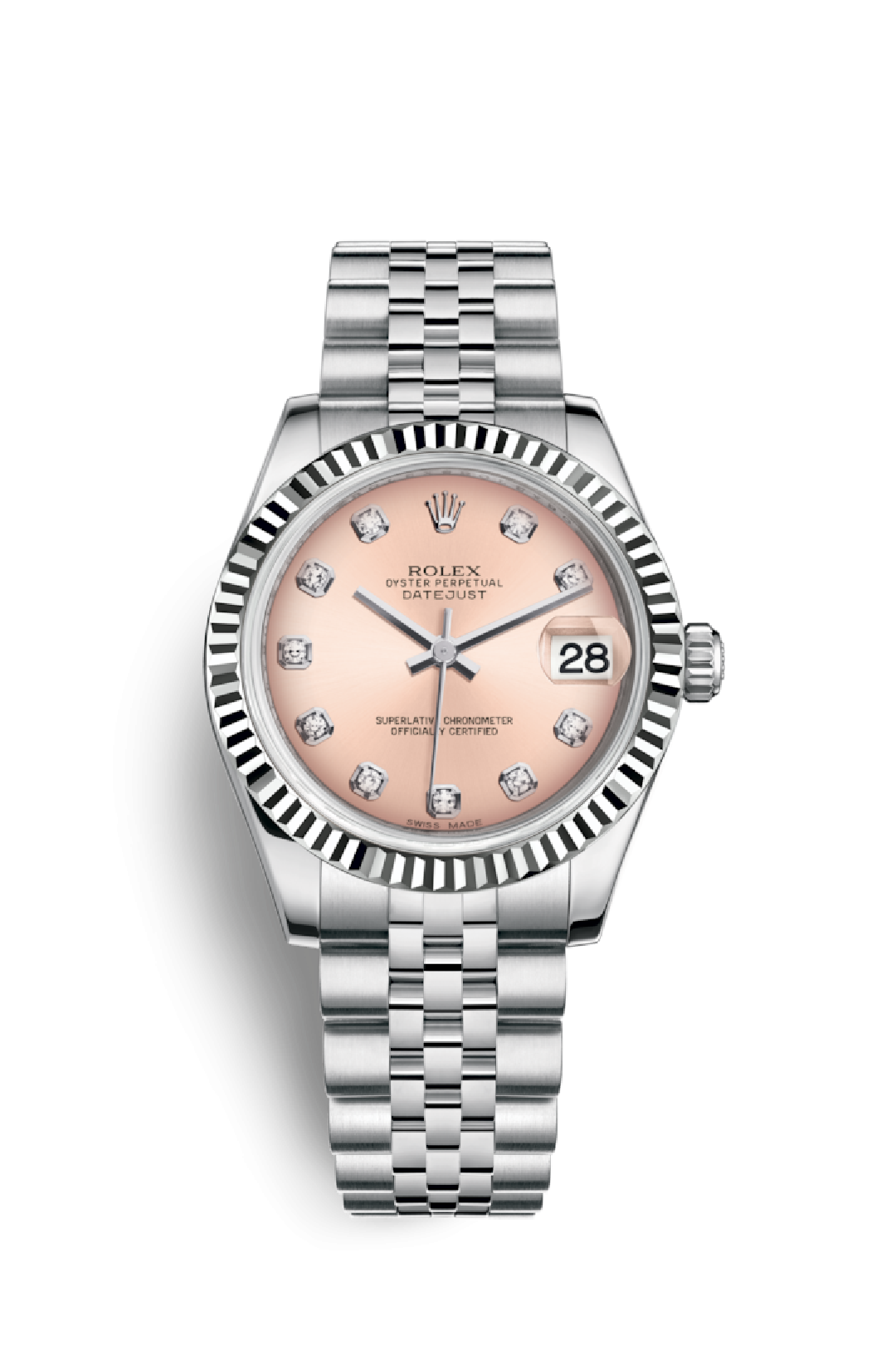 c0eb4480aea Datejust 31 mm Cadran rose 10 diamants bracelet jubile - Rivierawatch